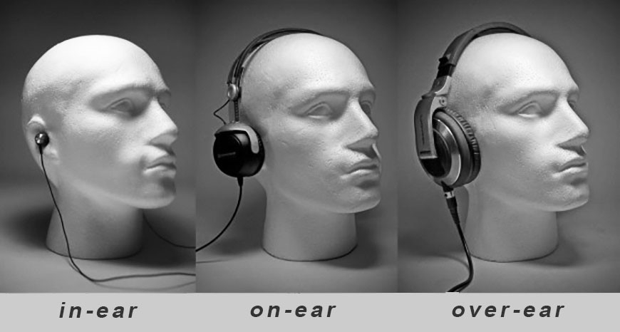 In-ear headset, on-ear headset, over-ear headset - En guide